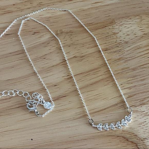 Lauren Conrad Silver Branch Necklace Leaf Bohemian Cottagecore